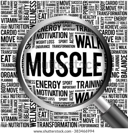 Muscle word cloud with magnifying glass, health concept