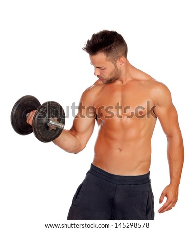 Muscled guy lifting weights isolated on white background - stock photo