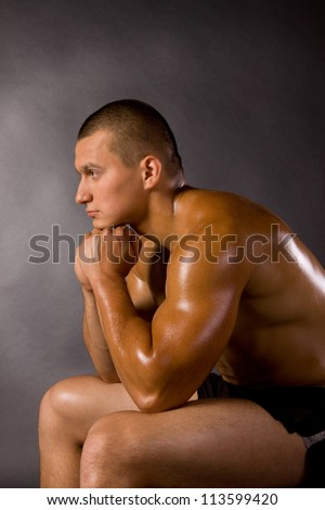 Muscled male model bodybuilder muscle - stock photo