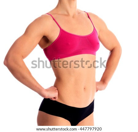 Muscled woman on a white background, isolated