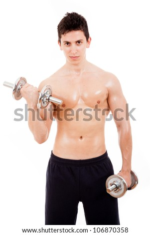 Muscled young man lifting weights, isolated on white - stock photo