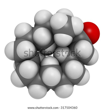 Muscone musk odor molecule. Atoms are represented as spheres with conventional color coding: hydrogen (white), carbon (grey), oxygen (red). - stock photo