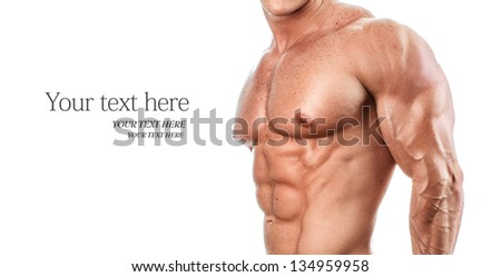 Muscular and sexy torso of young man, bodybulider isolatedon white