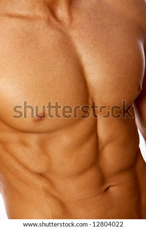 Muscular and tanned male torso isolated on white - stock photo