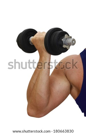 Muscular arm with dumbbell isolated on white background - stock photo