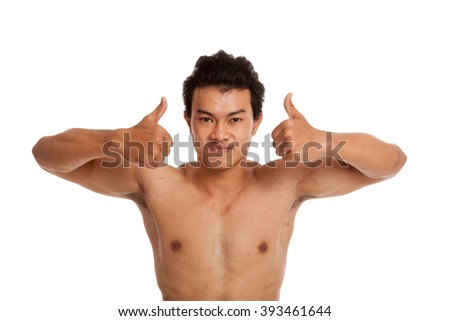 Muscular Asian man show thumbs up  isolated on white background