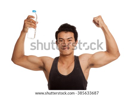 Muscular Asian man with bottle of water  isolated on white background