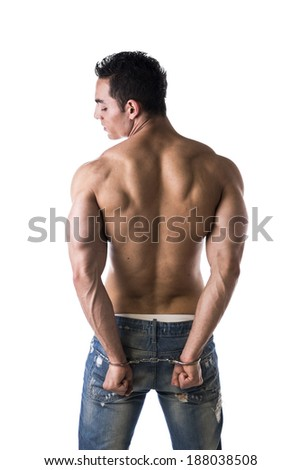Muscular back of male bodybuilder handcuffed, isolated on white - stock photo