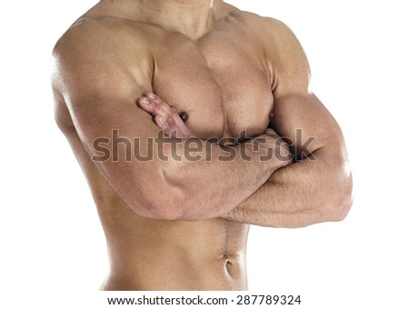 Muscular body of sportsman. Horizontal close-up photo