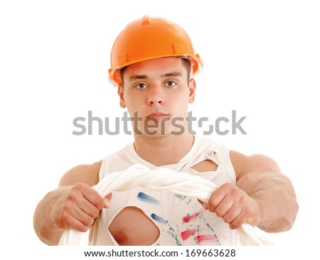 Muscular construction worker posing , isolated on white background - stock photo