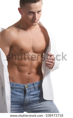 muscular guy with a strong torso on a white background