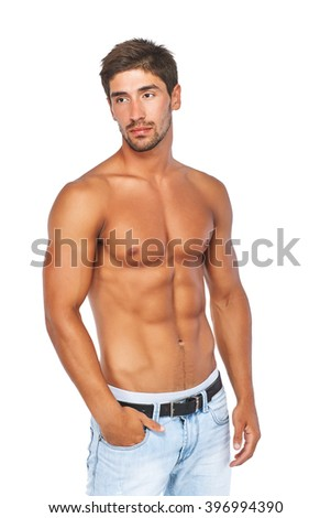Muscular handsome young man with naked torso. Isolated on white background. - stock photo