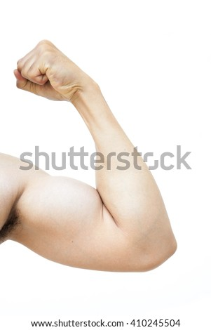 Muscular male arms isolated white background, Selective Focus. - stock photo