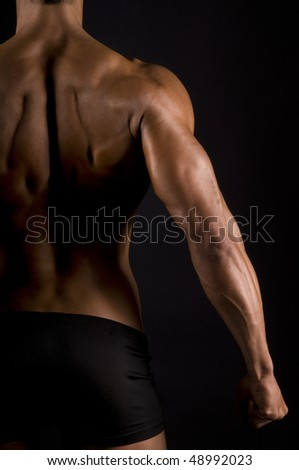 muscular male back on black background.