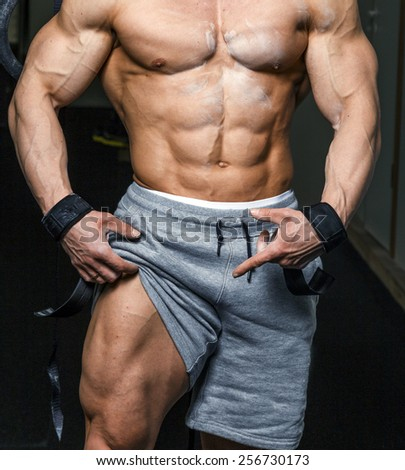 Muscular Male Body Gym Stock Photo Royalty Free 256730173