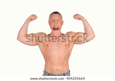 Muscular male body isolated on white background