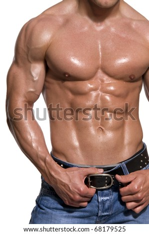 Muscular male body isolated on white background.