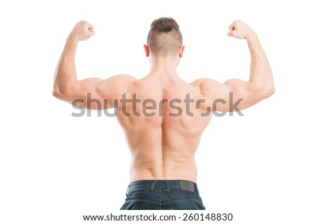 Muscular male from the back flexing his strong arms - stock photo