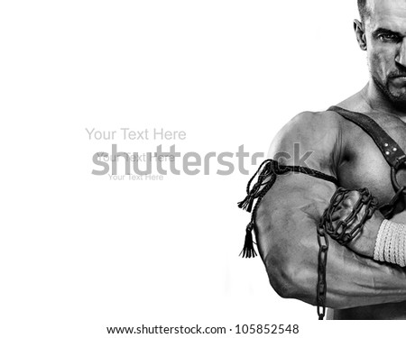 muscular male portrait of ancient warrior b&w - stock photo