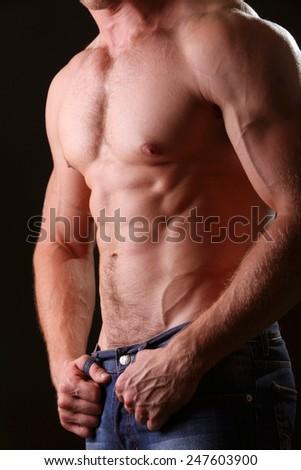 muscular male torso - stock photo