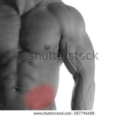 Muscular male torso with stomach selected on white background - stock photo