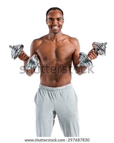 Muscular man doing exercises with dumbbell training biceps / photo set of sporty muscular Hispanic shirtless fitness guy wearing sports clothes working out with dumbbell over white background - stock photo