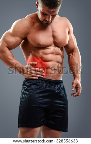 Muscular Man Having Appendicitis Attack Acute Stock Photo ...