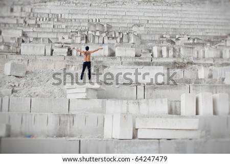muscular man in jeans - stock photo