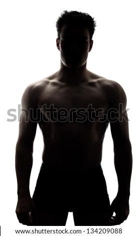 Muscular man in silhouette isolated on white background - stock photo