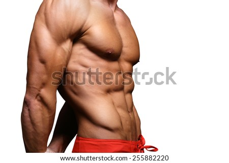 muscular man in white background  - stock photo