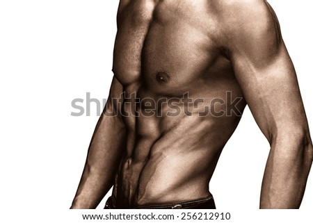 muscular man in white background