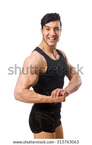 Muscular man isolated on the white