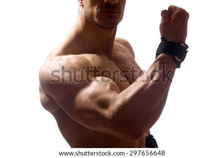 Muscular man isolated on the white background - stock photo