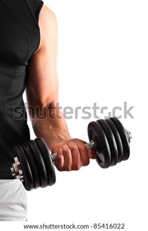Muscular man lifting weights - stock photo