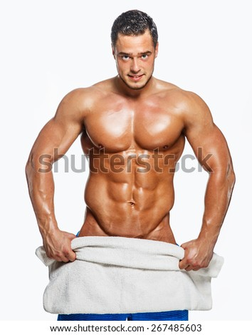 Muscular man on white background