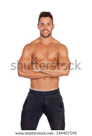 Muscular man showing his body isolated on white background - stock photo