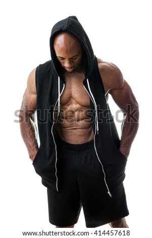 Muscular Man Wearing a Hoodie - stock photo