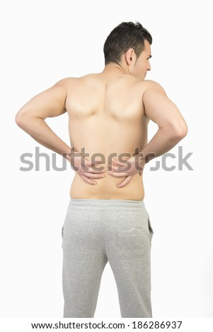 Muscular man with muscle pain on white background