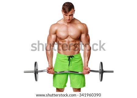 Muscular man working out doing exercises with barbell at biceps, strong male naked torso abs, isolated over white background - stock photo