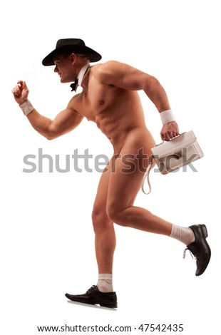 Muscular naked male stripper running with ladies' purse
