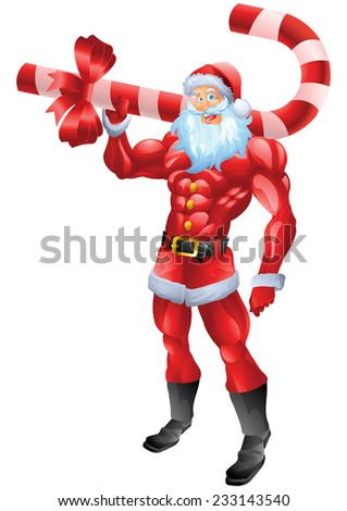Muscular Santa Claus holding candy cane - stock photo