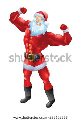 Muscular santa claus posing biceps - stock photo