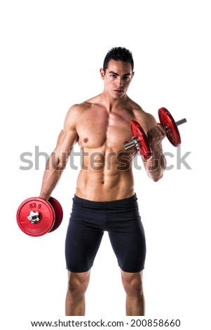 Muscular sexy shirtless young man exercising biceps with dumbbells, isolated on white