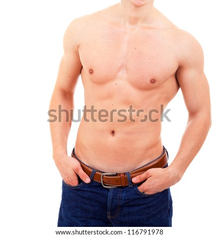 Muscular torso of a man isolated on background