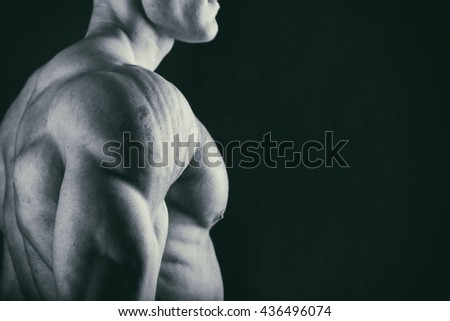 Muscular torso of sexy young male bodybuilder - stock photo