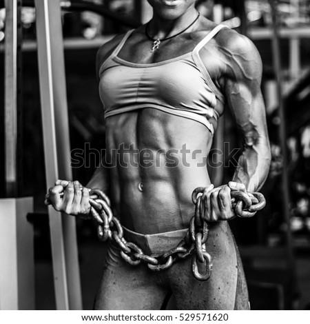 female bodybuilder in chains