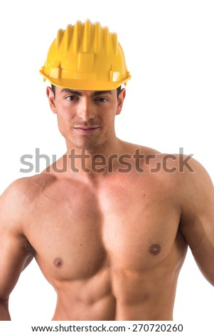 Muscular young construction worker shirtless smiling, isolated on white background