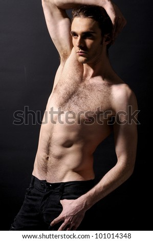 muscular young man. Isolated