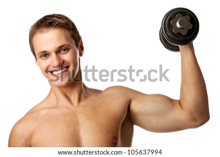 Muscular young man lifting a dumbbell over white background - stock photo