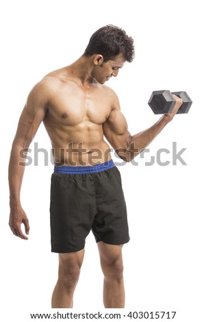 muscular young man lifting weights for biceps curl isolated on white background.